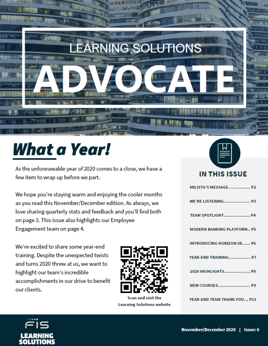 FIS Learning Solutions Advocate Newsletter November 2020