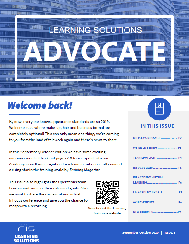 FIS Learning Solutions Advocate Newsletter September 2020